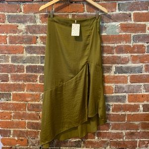 NWT Free People Satin Midi Skirt